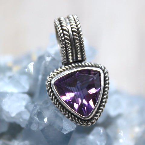 Sterling Silver Amethyst Triangle Drop Pendant
