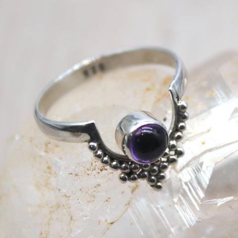 Sterling Silver and Amethyst Dotted Crown Ring
