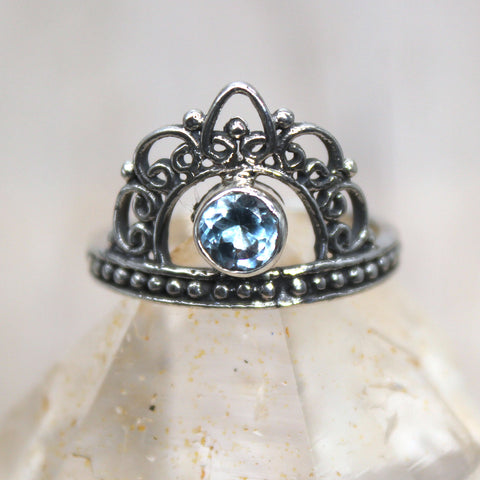 Sterling Silver and Topaz Crown Ring