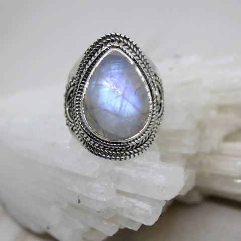 Handmade Moonstone and 925 Silver Raindrop Ring