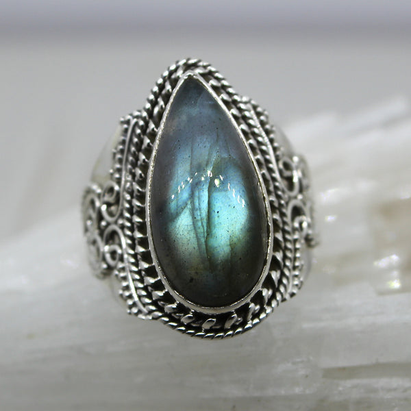 925 Silver Labradorite Drop Ring