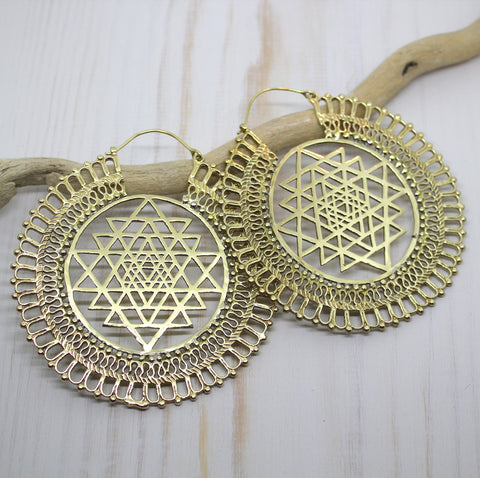 Handmade Brass Yantra Earrings