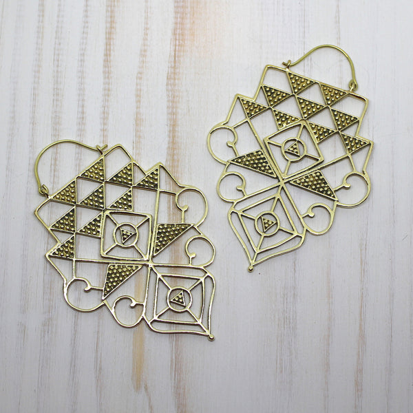 Handmade Brass 'Kaia' earrings.