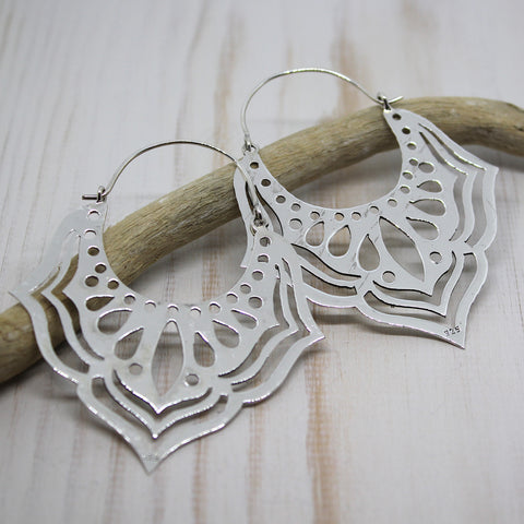 Handmade Sterling Silver Large 'Jarul' Earrings from Rajasthan.