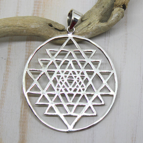 Handmade Sterling Silver Yantra Pendant from Rajasthan