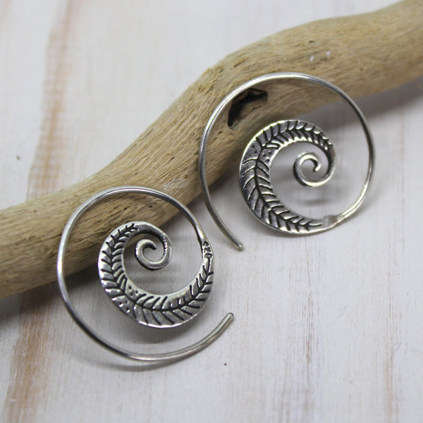 Sterling Silver Spiral Earrings with intricate leaf pattern