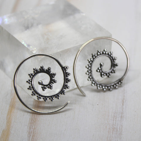 925 Silver 'Jamilah' Spiral Earrings