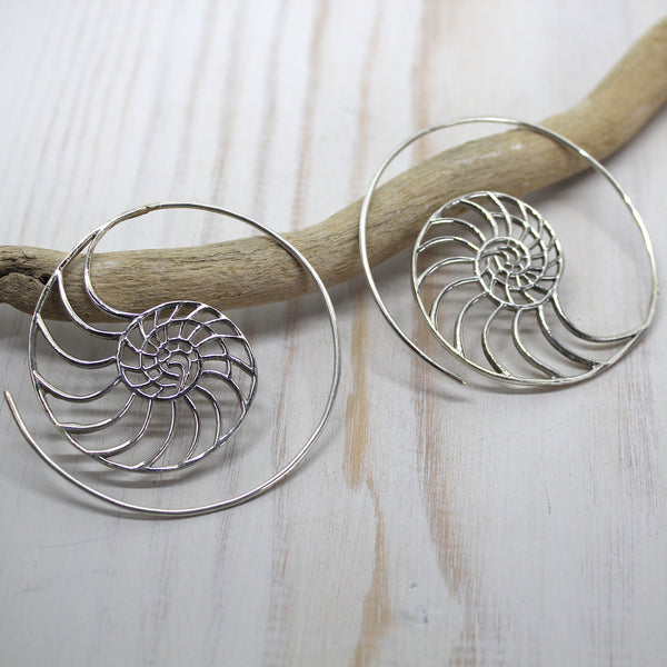Sterling Silver Spiral Earrings fossil shell nautilus design