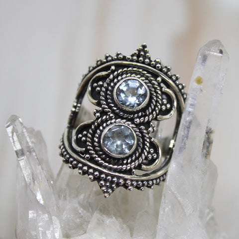 Handmade Sterling Silver Double Topaz Ring
