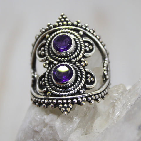 Handmade Sterling Silver Double Amethyst Ring