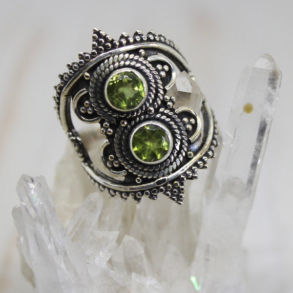 Handmade Sterling Silver Double Peridot Ring