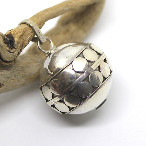 Sterling Silver Dotted Harmony Ball Pendant