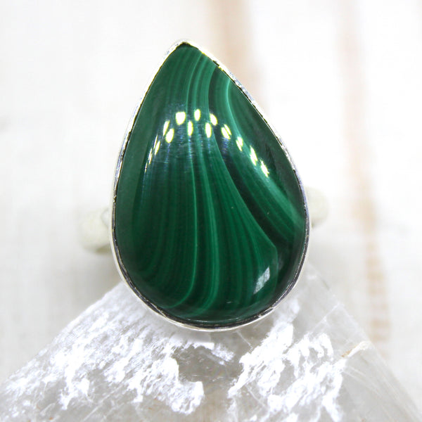 Handmade Sterling Silver Malachite Drop Ring