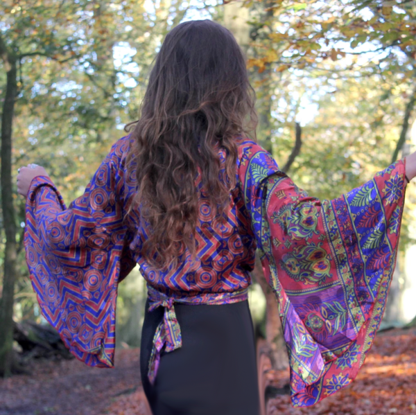 Recycled Indian Sari 'Alpana' Butterfly Wing Wrap Top