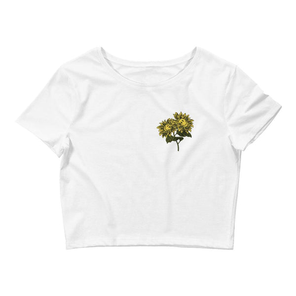 FlowerFace Women's Crop Tee-T shirt-Street Panda Clothing