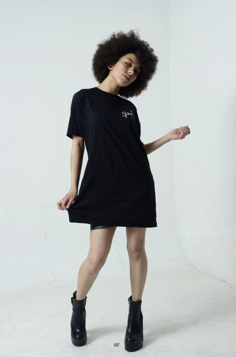 Organic Black Signature Long Tee-uni sex T shirt-Street Panda Clothing