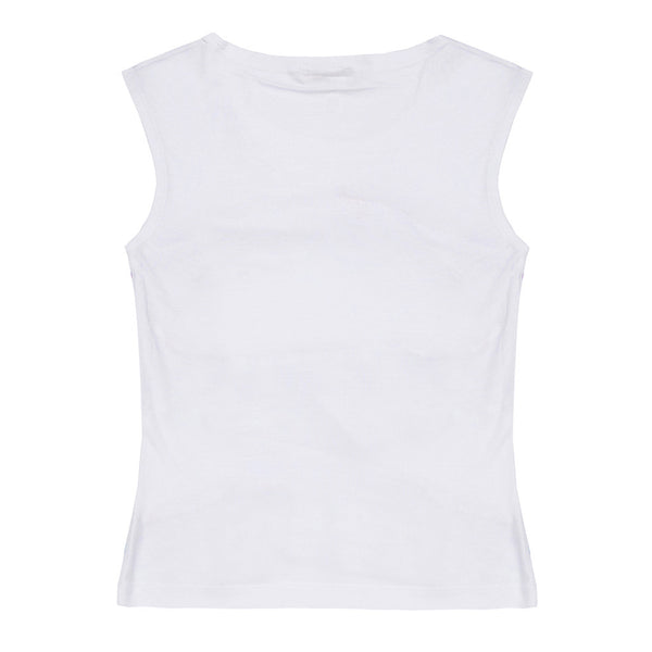 Sleeveless White T-shirt - 3030TJT4504