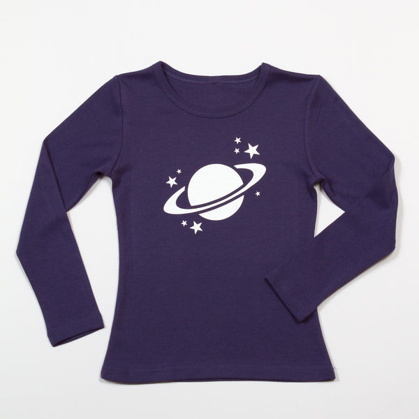Saturn Long Sleeve T-Shirt - Glow in the Dark on Purple