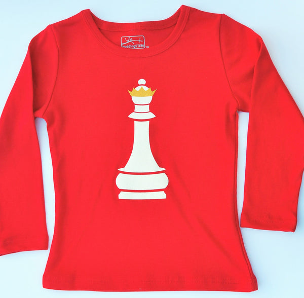 Chess Queen Long Sleeve T-Shirt - Red