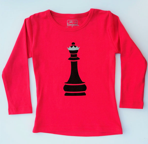Chess Queen Long Sleeve T-Shirt - Fuchsia