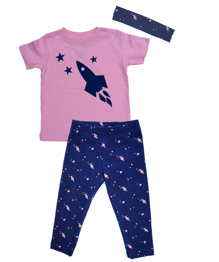 Space Leggings, Short Sleeve T-Shirt & Headband