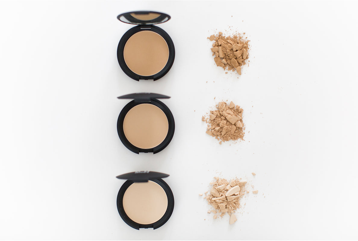 Mineral powder shades in a line
