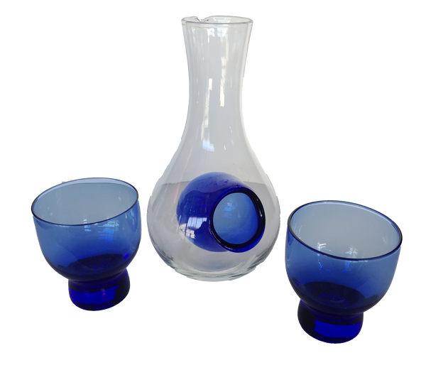 Glass Sake Carafe Set 250ml (2 Glasses Included)