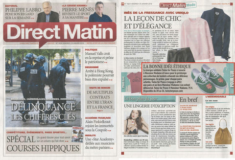 Direct Matin Janvier 2016 Twins for Peace