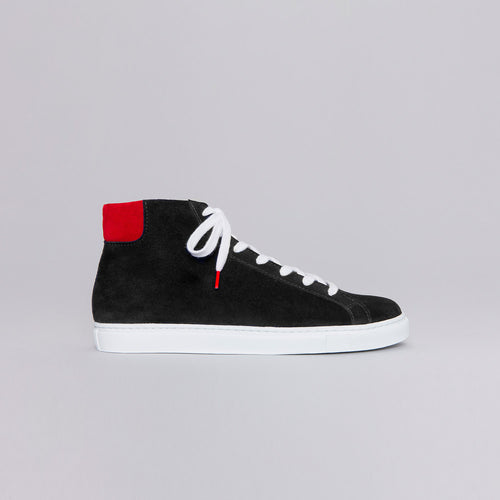 Alex High Top Suede Black Red - SUEDE SNEAKERS