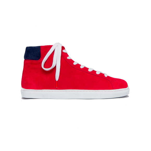 Alex High Top Suede Red Blue - SUEDE SNEAKERS