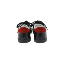 Load image into Gallery viewer, black leather sneakers with red leather back and black cotton laces - back view