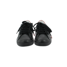 Load image into Gallery viewer, black leather sneakers with red leather back and black cotton laces - front view