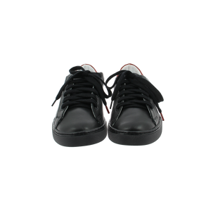 black leather sneakers with red leather back and black cotton laces - front view