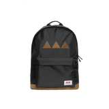 Black backpack with the brand logo stitched to the back pocked. Three brown triangles and brown leather underneath - back view