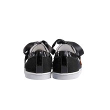 Load image into Gallery viewer, black velvet sneakers with handmade embroidered beads front, patent leather collar and black satin laces - back view