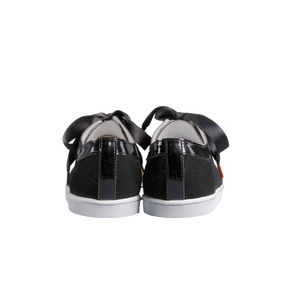 black velvet sneakers with handmade embroidered beads front, patent leather collar and black satin laces - back view