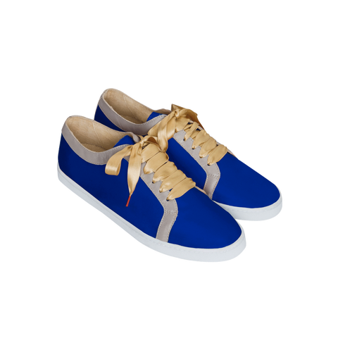 BOUBOU SILK - ROYAL BLUE SATIN SNEAKERS