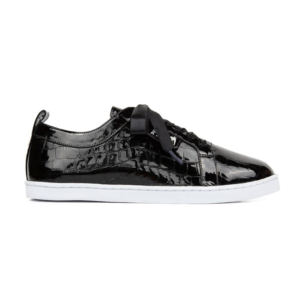 BOUBOU CROCO - BLACK PATENT LEATHER SNEAKERS