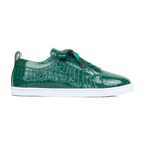 BOUBOU CROCO - GREEN PATENT LEATHER SNEAKERS