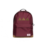 Burgundy backpack with the brand logo stitched to the back pocked. Three brown triangles and brown leather underneath - back view