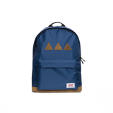 Navy backpack with the brand logo stitched to the back pocked. Three brown triangles and brown leather underneath - back view