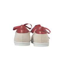 Load image into Gallery viewer, Women sneakers in raw linen with handmade embroidered red and white beads with a zigzag pattern, leather lining, red leather outline, red leather back, white natural gum sole and red satin laces - back view
