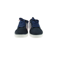 Load image into Gallery viewer, white, blue and burgundy herringbone canvas sneakers with navy patent leather front and tongue, navy patent leather collar and navy satin laces - front view