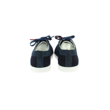 Load image into Gallery viewer, navy wool sneakers with navy patent leather collar and navy cotton laces - back view