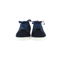 Load image into Gallery viewer, navy wool sneakers with navy patent leather collar and navy cotton laces - front view