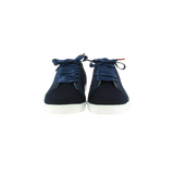 navy wool sneakers with navy patent leather collar and navy cotton laces - front view