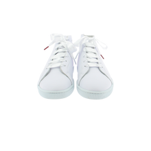 Load image into Gallery viewer, white leather high top sneakers with white leather collar and white satin laces  - front view