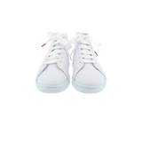 white leather high top sneakers with white leather collar and white satin laces  - front view