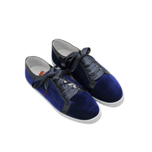 Load image into Gallery viewer, blue velvet sneakers with black patent leather collar and black satin laces  - three quarter view