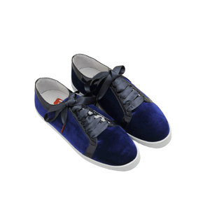 blue velvet sneakers with black patent leather collar and black satin laces  - three quarter view